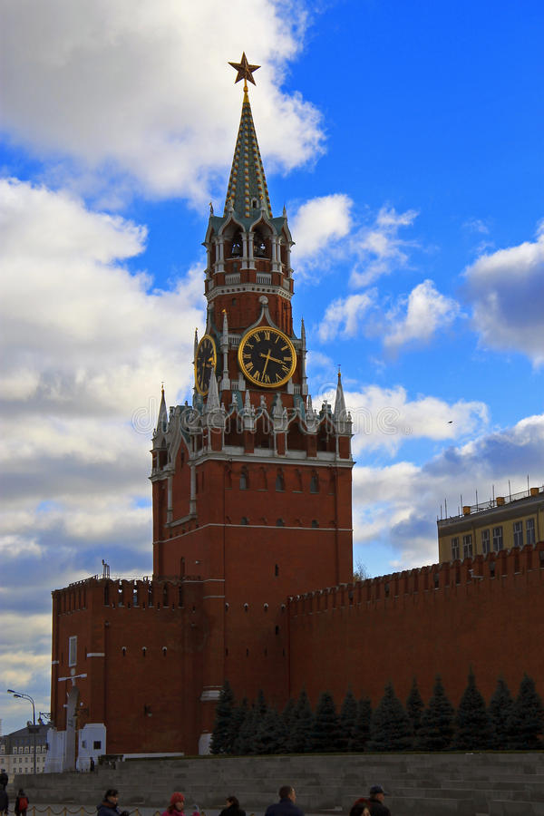Spasskaya钟楼在克里姆林宫红场莫斯科 库存照片