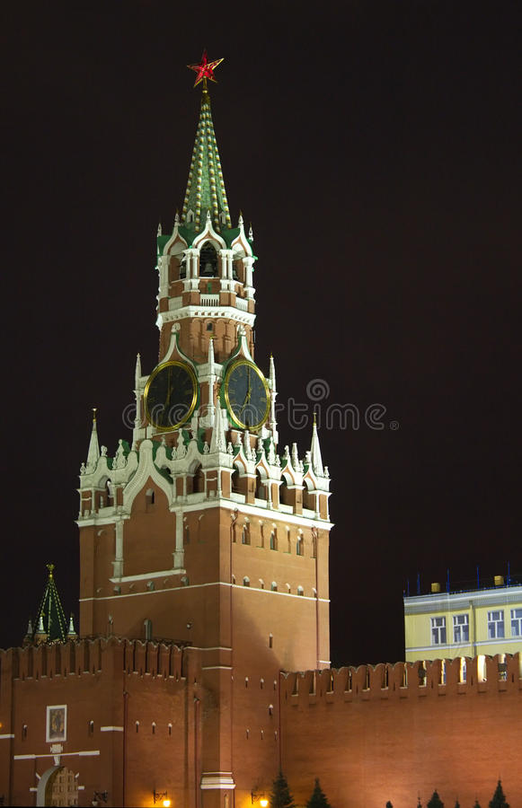 Spasskaya Kontrollturm Nachtansicht der Moskau-Kremlin stockfotos