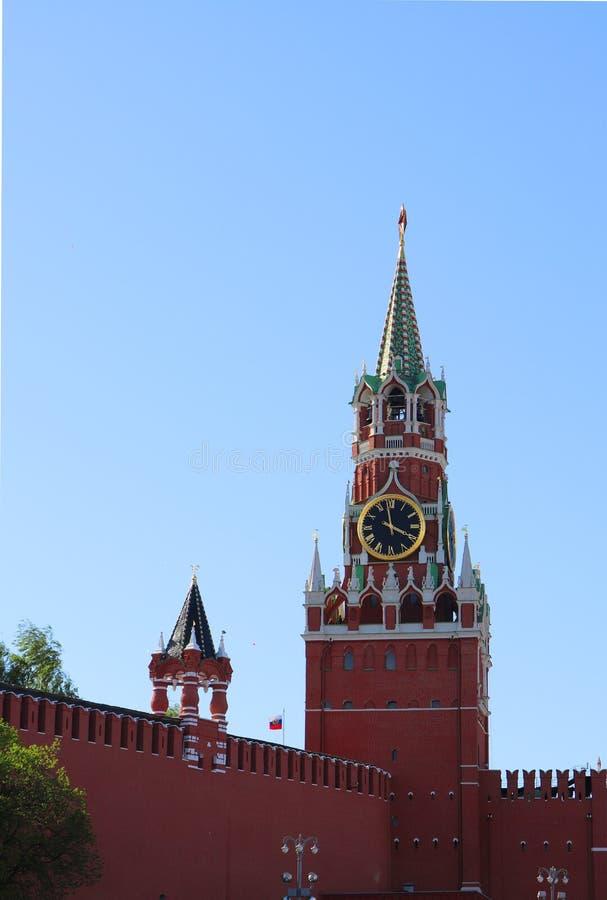 Spasskaya torn, Kreml, röd fyrkant, Moskva, Ryssland royaltyfri bild