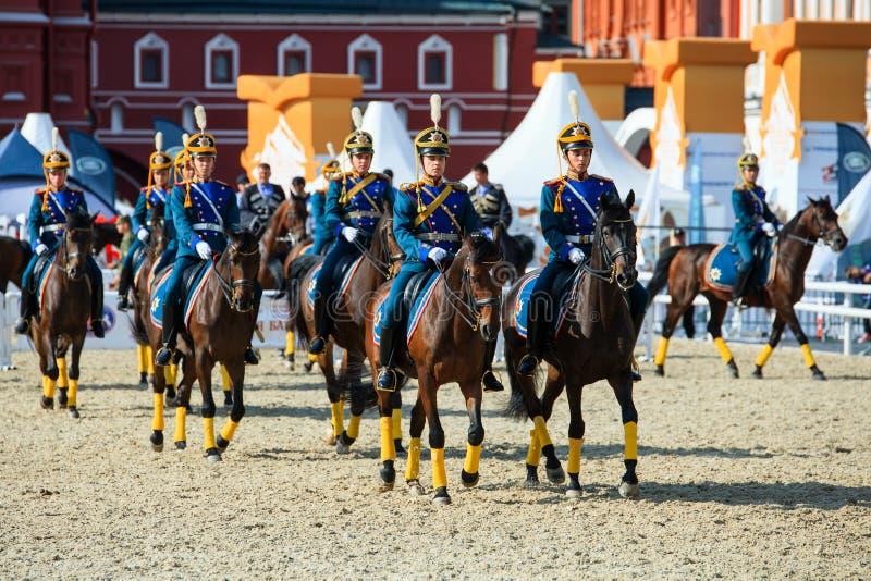 Spasskaya Tower international military music festival. MOSCOW, RUSSIA - SEPTEMBER 02, 2016: Spasskaya Tower international military music festival. The Cavalry royalty free stock photography
