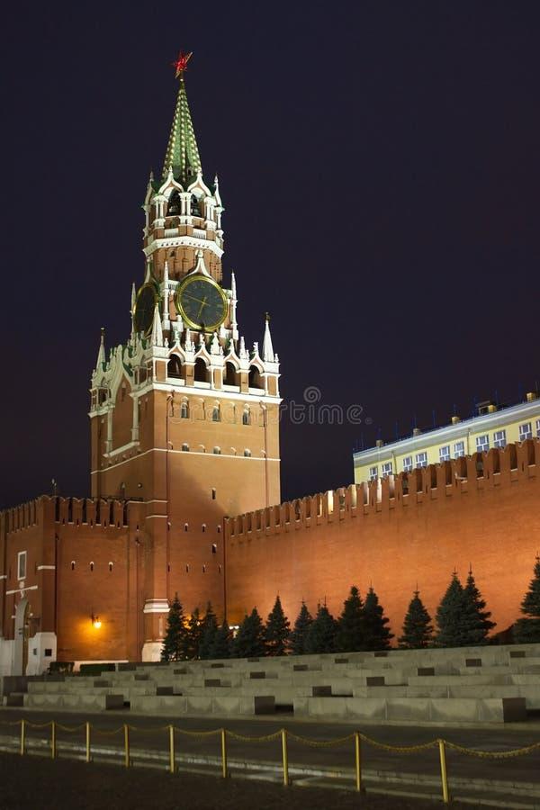Spasskaya Tower of Moscow Kremlin night view at ni stock image
