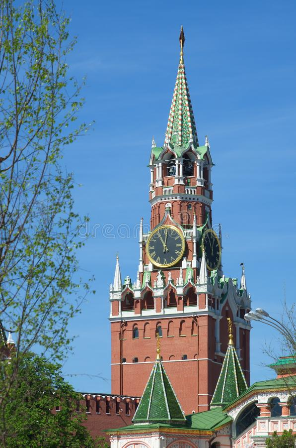 Spasskaya tower of the Moscow Kremlin, Russia royalty free stock photo