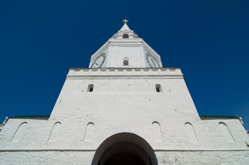 Spasskaya wierza Kazan Kremlin Unesco Światowego Dziedzictwa Miejsce fotografia royalty free