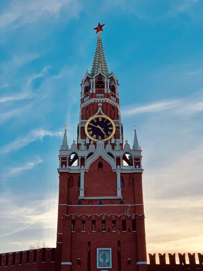Spasskaya wierza w wieczór obraz royalty free