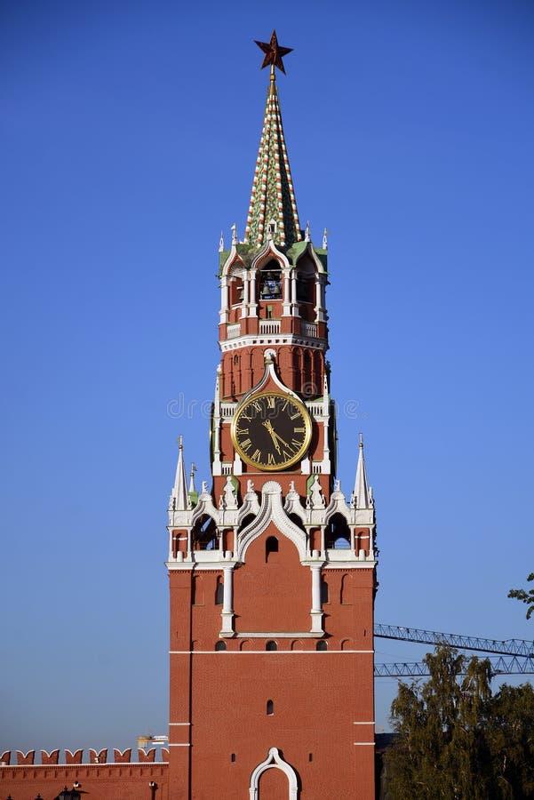Spasskaya zegarowy wierza Moskwa Kremlin Unesco Światowego Dziedzictwa Miejsce fotografia royalty free