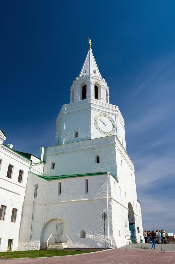Spasskayatoren van Kazan het Kremlin De Plaats van de Erfenis van de Wereld van Unesco royalty-vrije stock afbeelding