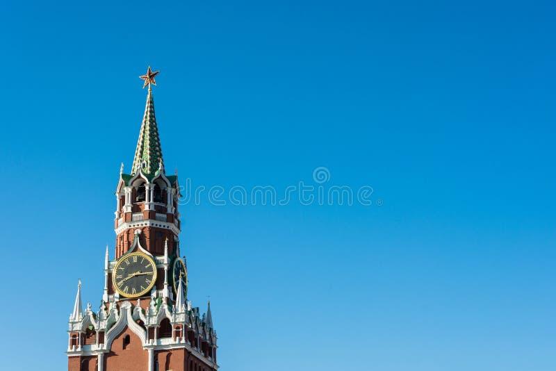 Spasskayatoren van Moskou het Kremlin stock foto
