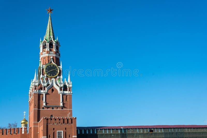 Spasskayatoren van Moskou het Kremlin stock afbeelding