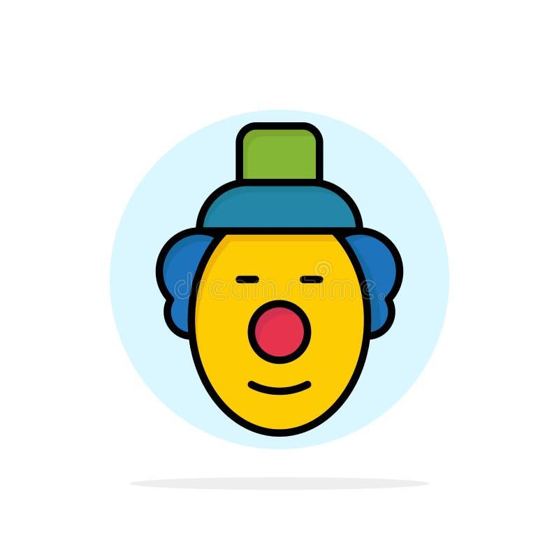 Spassvogel, Clown, flache Ikone Farbe des Zirkus-Zusammenfassungs-Kreis-Hintergrundes stock abbildung