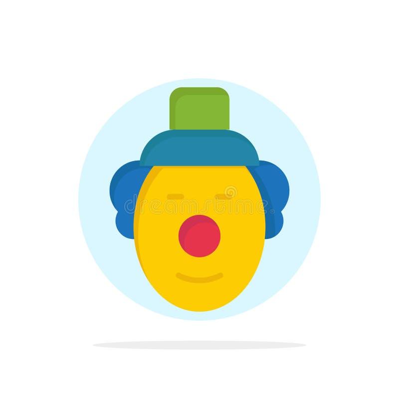 Spassvogel, Clown, flache Ikone Farbe des Zirkus-Zusammenfassungs-Kreis-Hintergrundes lizenzfreie abbildung