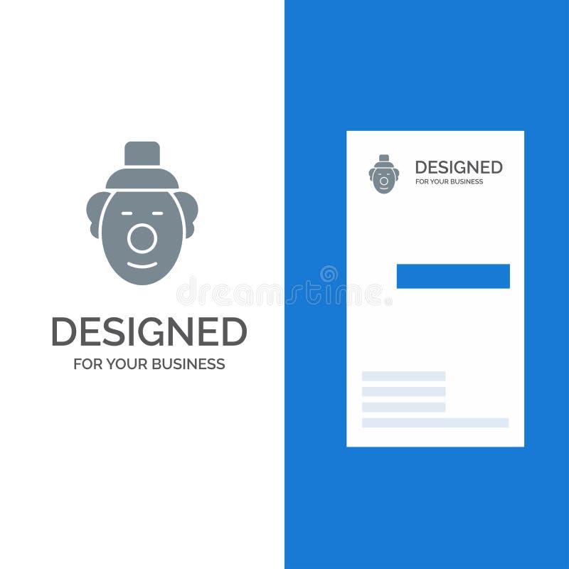 Spassvogel, Clown, Zirkus Grey Logo Design und Visitenkarte-Schablone lizenzfreie abbildung