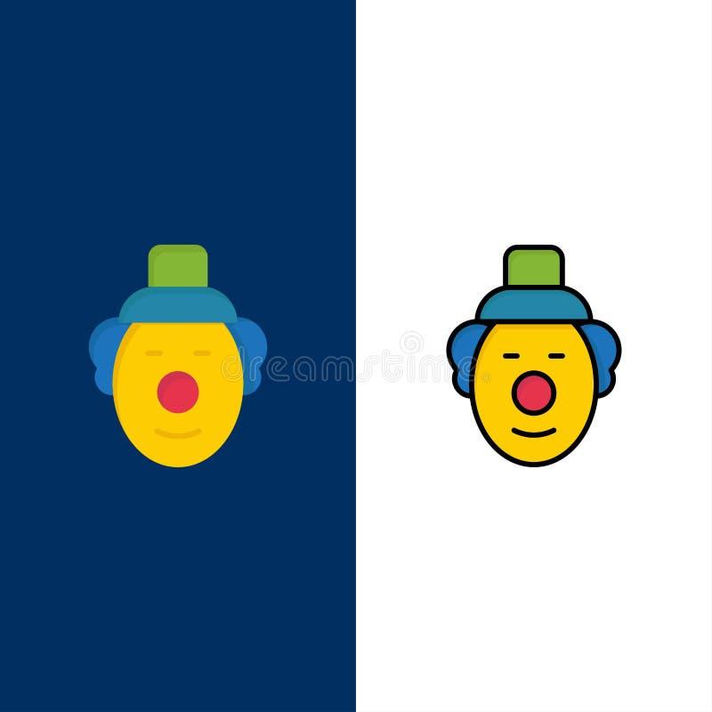 Spassvogel, Clown, Zirkus-Ikonen Ebene und Linie gefüllte Ikone stellten Vektor-blauen Hintergrund ein lizenzfreie abbildung