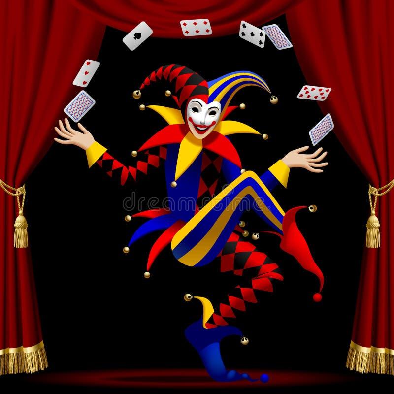 Spassvogel mit Spielkarten bewirtschaftete durch roten Vorhang stock abbildung