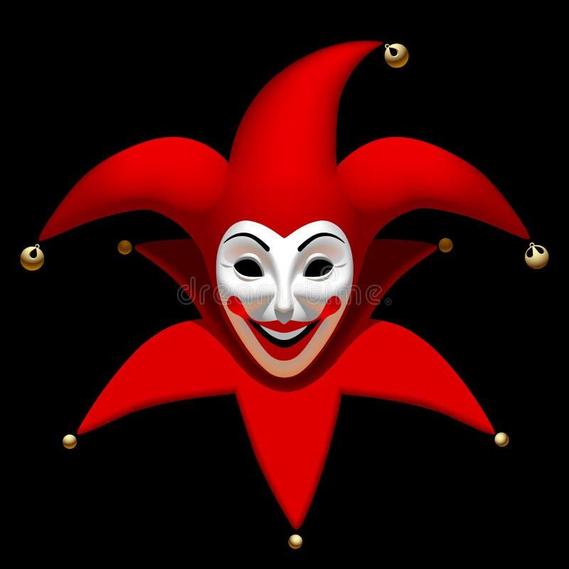 Spassvogelkopf in der roten Kappe eine weiße Maske lokalisiert auf Schwarzem vektor abbildung