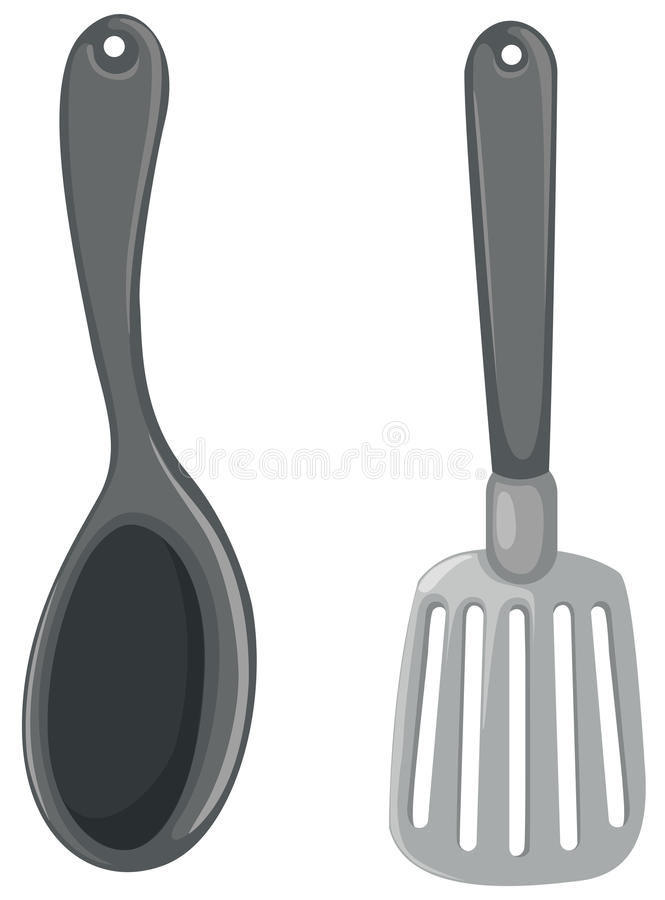 Spatel en gietlepel stock illustratie