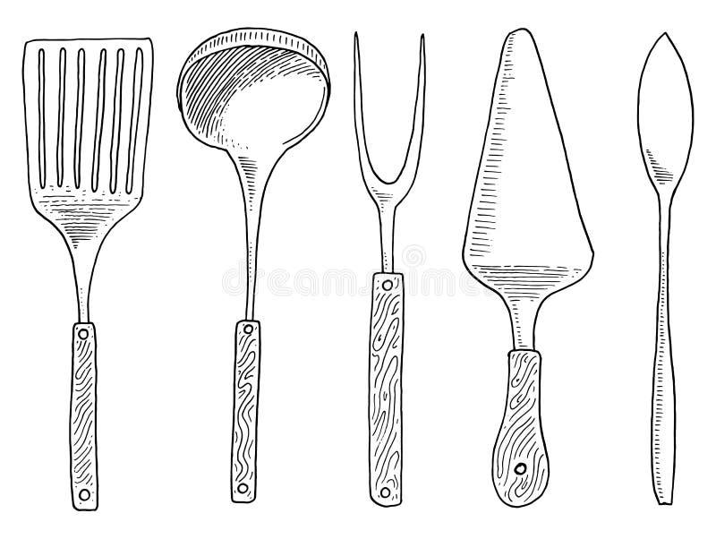 Spatel voor heet, kaviaar en dessert, vork voor haringen of gietlepel Chef-kok en keukengerei, kokend materiaal voor menu stock illustratie