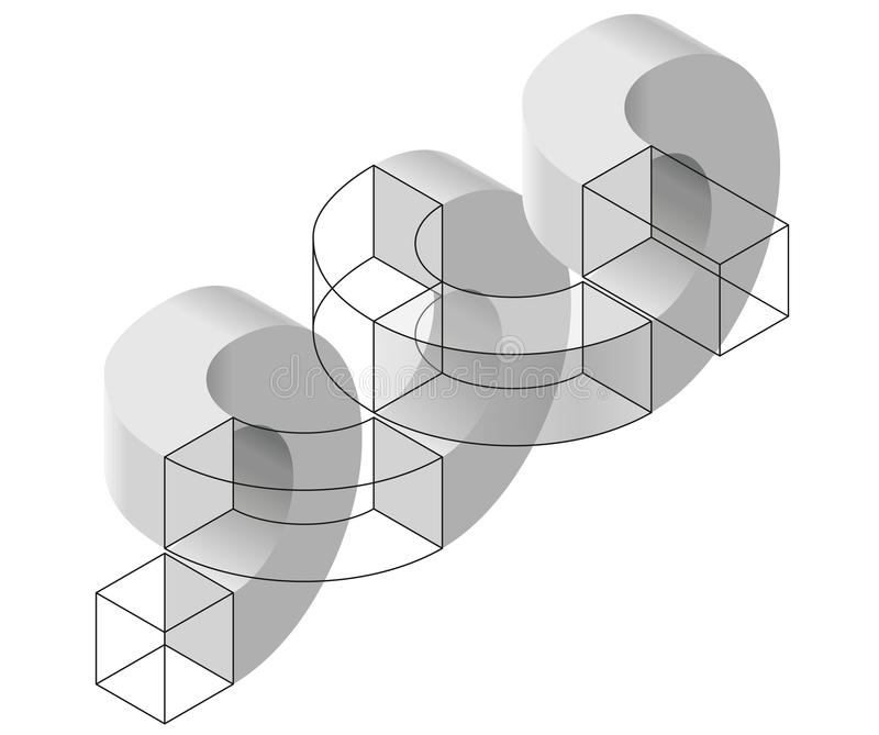 Spatial paradox, Esher`s infinite staircase principle. Isometric arched shapes. Spatial paradox, Esher`s infinite staircase principle. Isometric arched shapes stock illustration