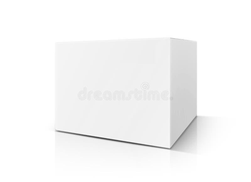Spatie die witte die kartondoos verpakken op witte achtergrond wordt geïsoleerd stock foto