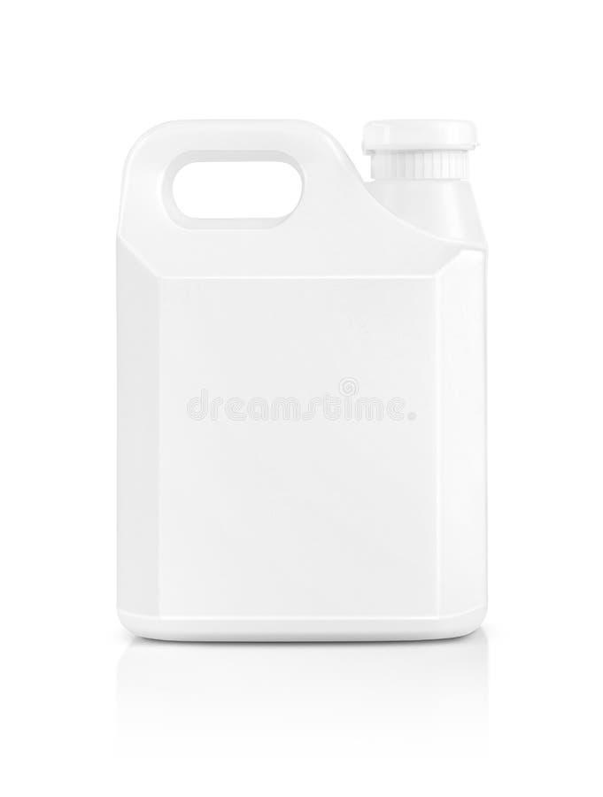 Spatie die witte plastic die gallon verpakken op wit wordt geïsoleerd royalty-vrije stock foto