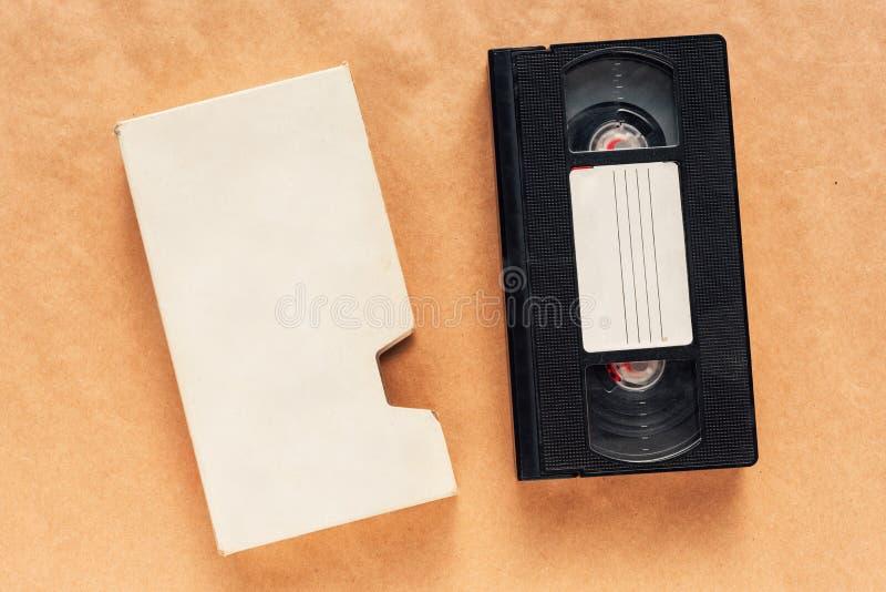 Spatie gebruikte videocassetteband, retro technologie stock afbeeldingen