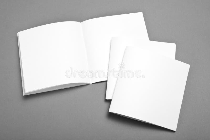 Spatie geopend die tijdschrift op grijze achtergrond met zachte elft wordt geïsoleerd royalty-vrije stock foto