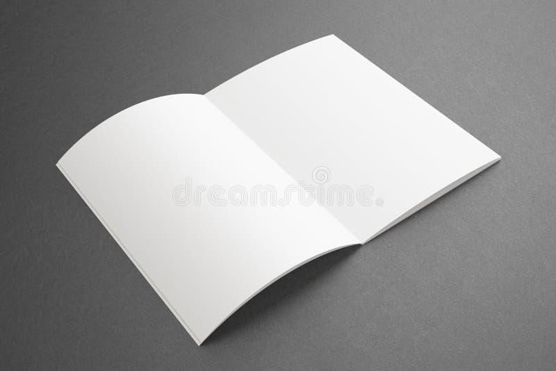 Spatie geopend Tijdschrift op donkere Achtergrond royalty-vrije stock foto's