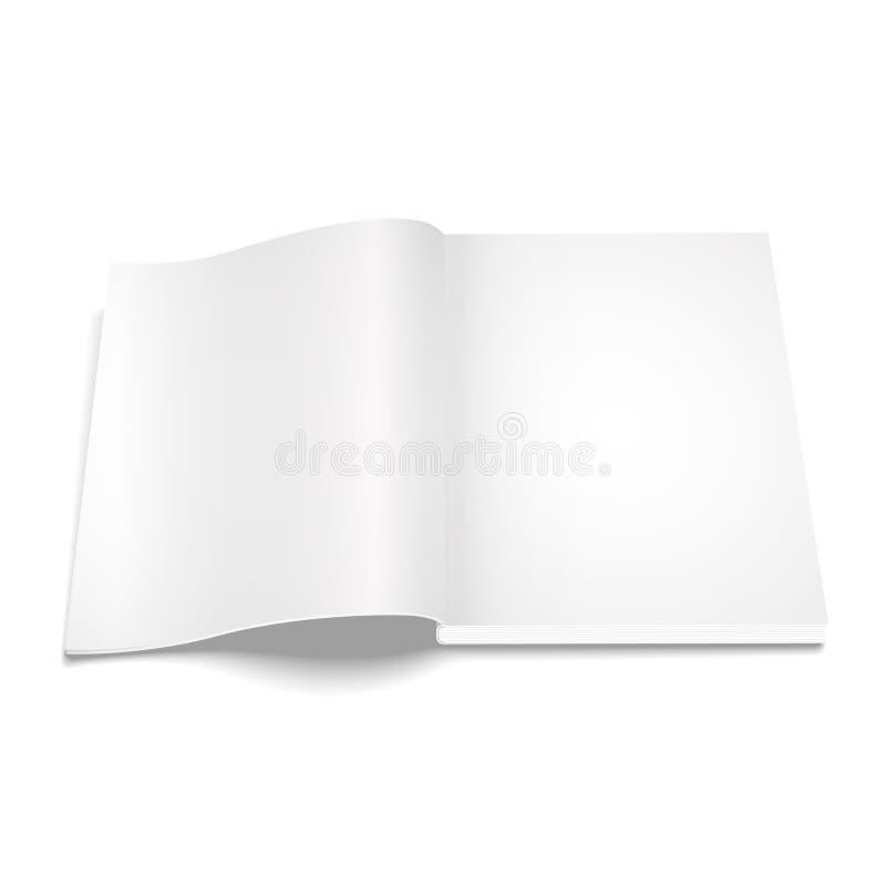 Spatie geopend tijdschriftmalplaatje op witte achtergrond stock illustratie