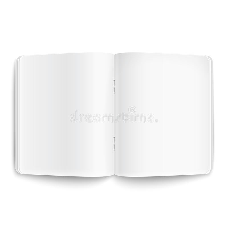 Spatie geopend voorbeeldenboek op witte achtergrond. stock illustratie