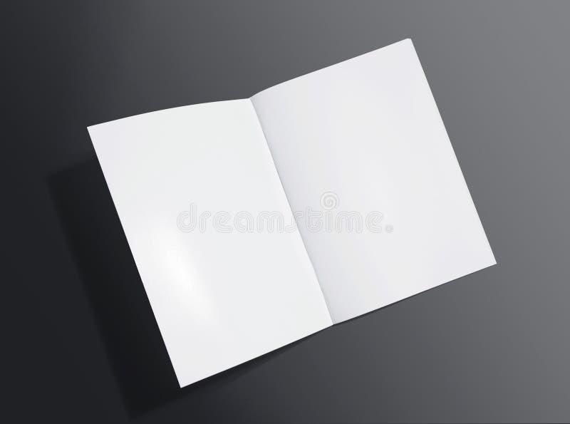 Spatie geopende brochure op donkere achtergrond stock foto
