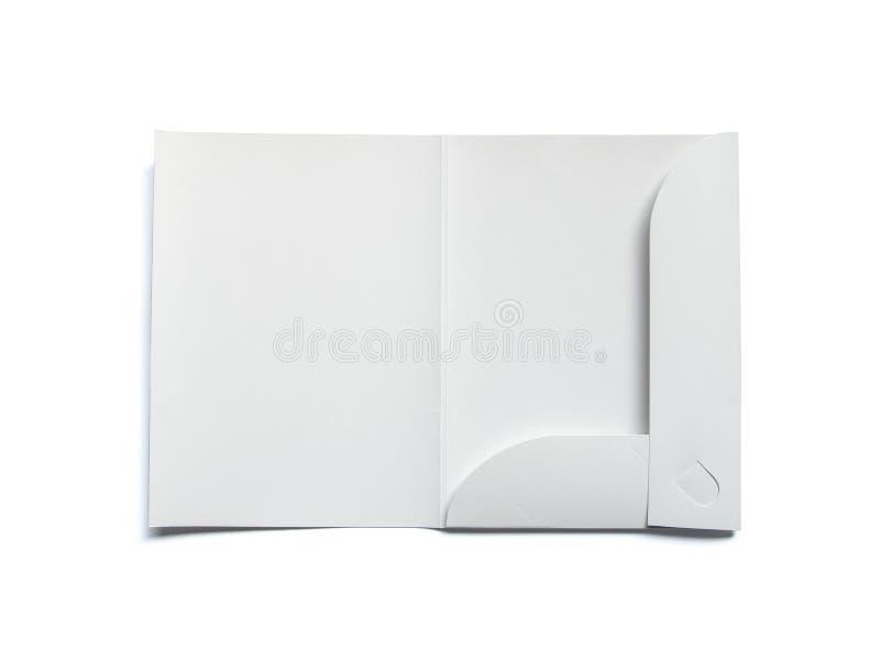 Spatie geopende die omslag op wit wordt geïsoleerd royalty-vrije stock foto