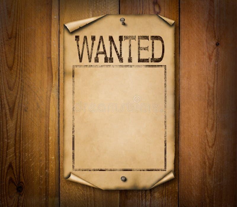 Spatie gewilde affiche op houten achtergrond stock foto