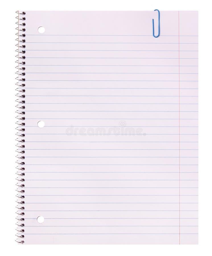 Spatie. Notitieboekjedocument en paperclip op witte achtergrond wordt geïsoleerd die. Terug naar school royalty-vrije stock fotografie