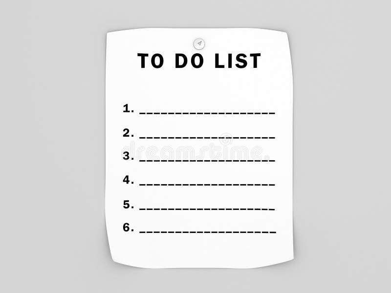 Spatie om lijst te doen stock illustratie