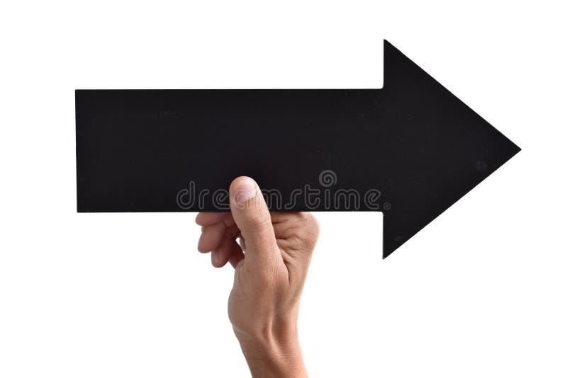 Spatie pijl-vormig uithangbord die aan het recht richten stock afbeeldingen