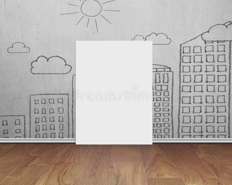 Spatie whiteboard met krabbelsmuur op houten vloer royalty-vrije stock foto's