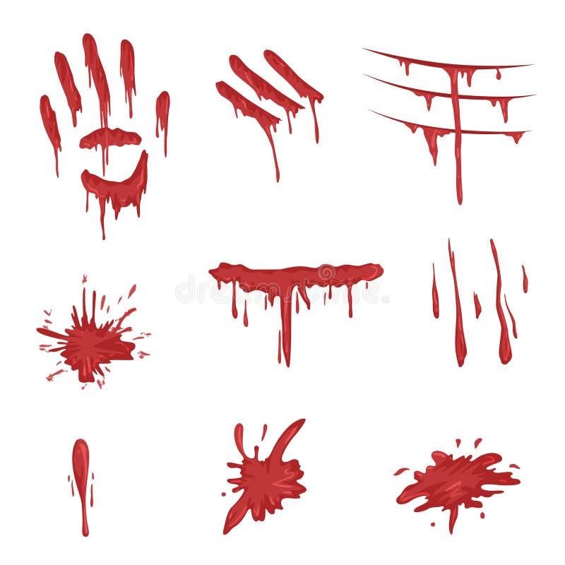 Spatters крови устанавливают, красные печати ладони, мазки пальца и пятна vector иллюстрации на белой предпосылке иллюстрация вектора