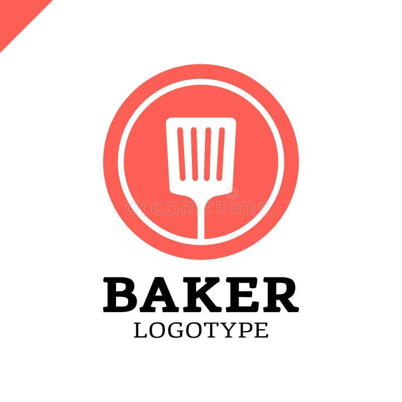Spatule de cuisine ou icône simple de logo de boulangerie en cercle illustration libre de droits