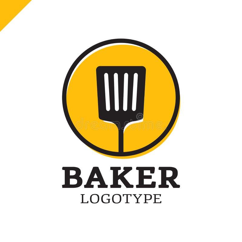 Spatule de cuisine ou icône simple de logo de boulangerie en cercle illustration stock
