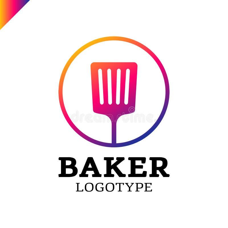 Spatule de cuisine ou icône simple de logo de boulangerie en cercle illustration de vecteur