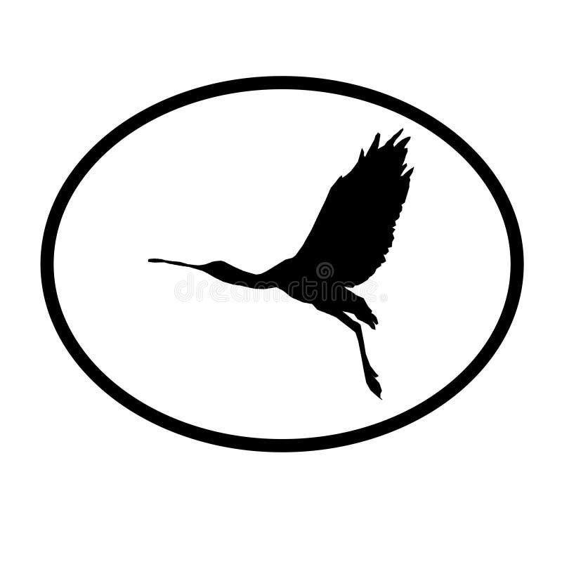 Spatule de Logo Banner Image Flying Bird dans la forme ovale sur le fond blanc illustration libre de droits