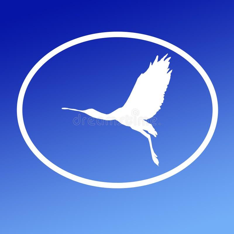 Spatule de Logo Banner Image Flying Bird dans la forme ovale sur le fond bleu illustration stock