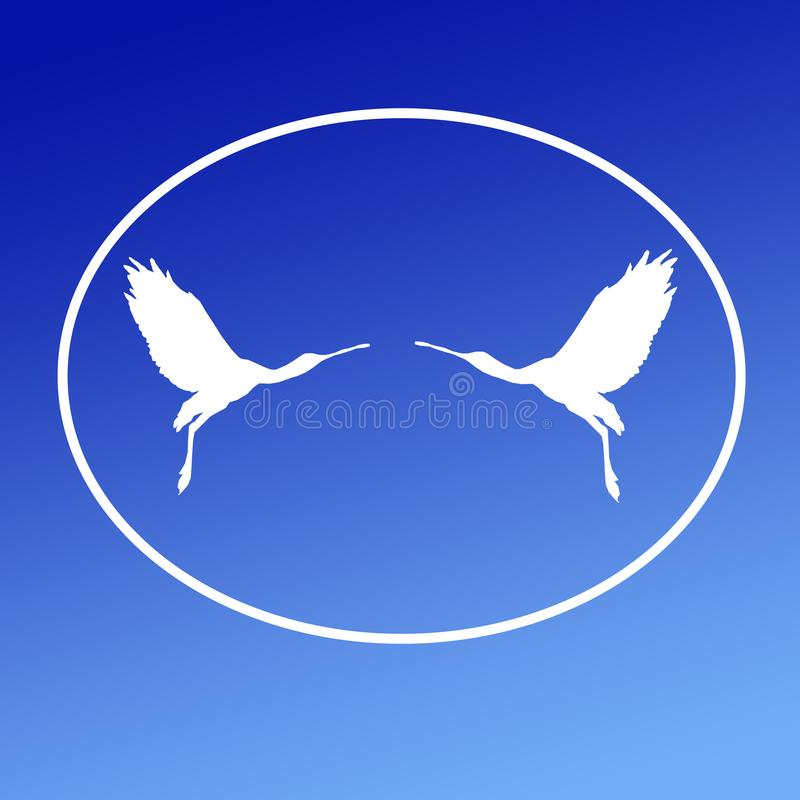 Spatule de Logo Banner Image Flying Bird dans la forme ovale sur le fond bleu illustration libre de droits