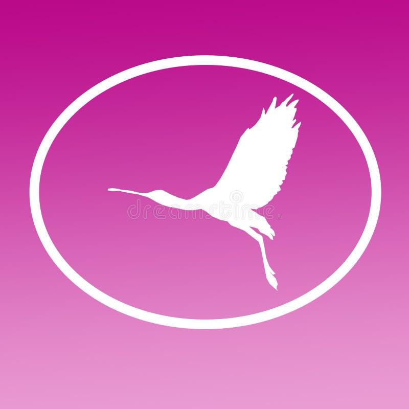 Spatule de Logo Banner Image Flying Bird dans la forme ovale sur le fond magenta illustration libre de droits