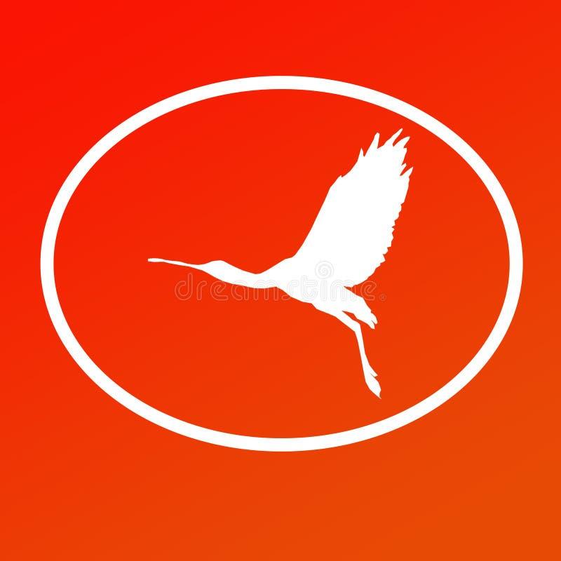 Spatule de Logo Banner Image Flying Bird dans la forme ovale sur le fond orange illustration de vecteur