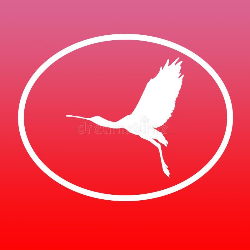 Spatule de Logo Banner Image Flying Bird dans la forme ovale sur le fond rouge illustration de vecteur