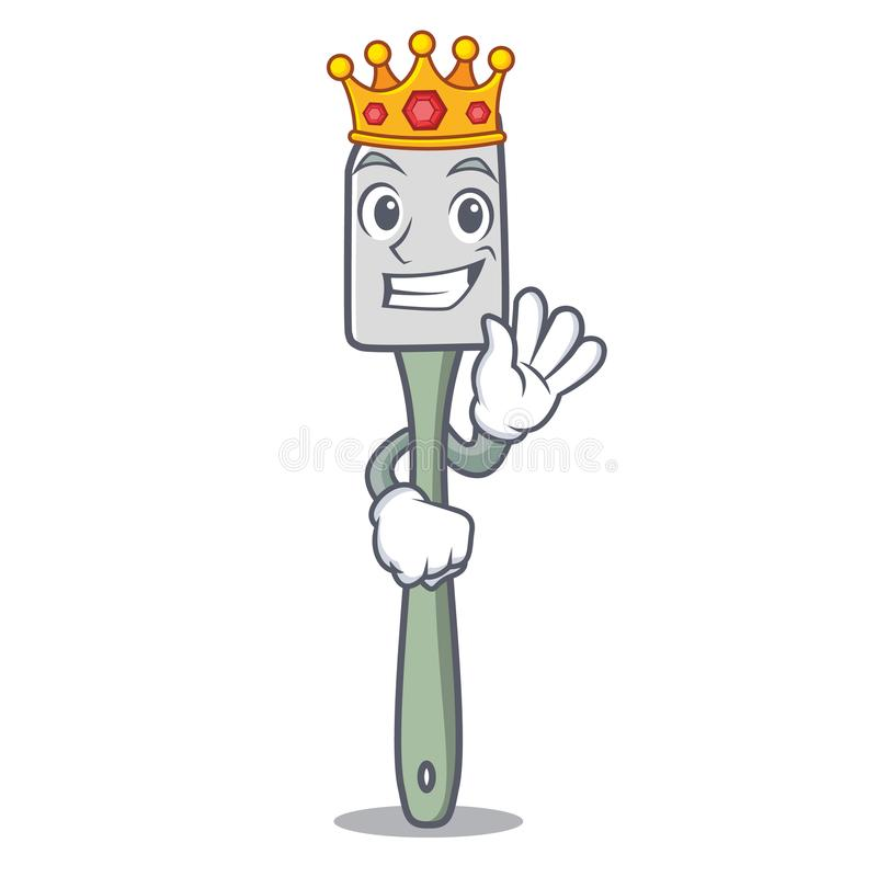 Spatule de silicone de mascotte de roi pour la nourriture de mélange illustration de vecteur