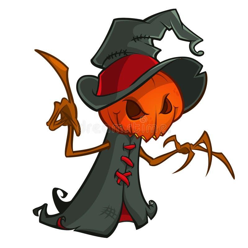 Spaventapasseri del fumetto di halloween con la testa