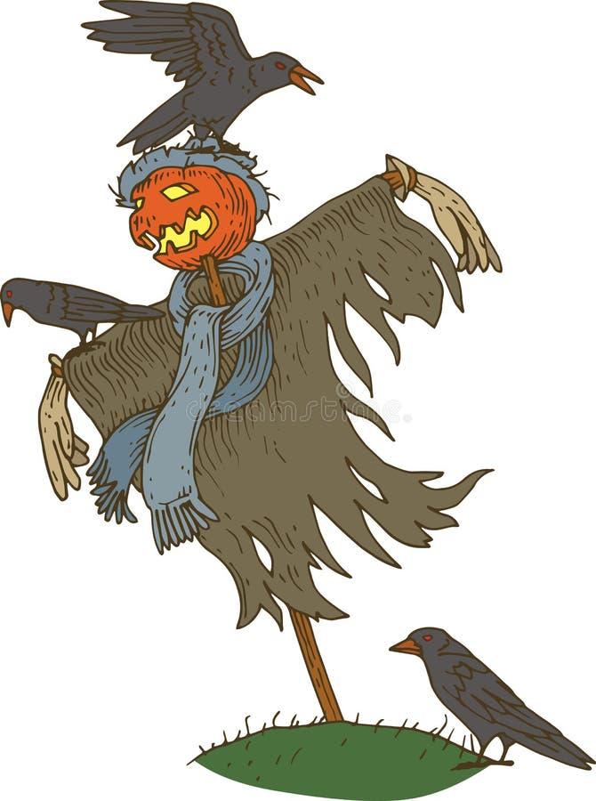 Spaventapasseri per Halloween con il corvo illustrazione di stock