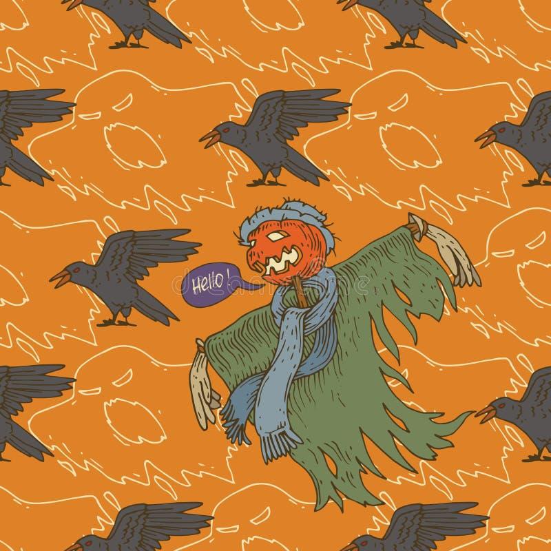 Spaventapasseri per Halloween con il corvo illustrazione vettoriale