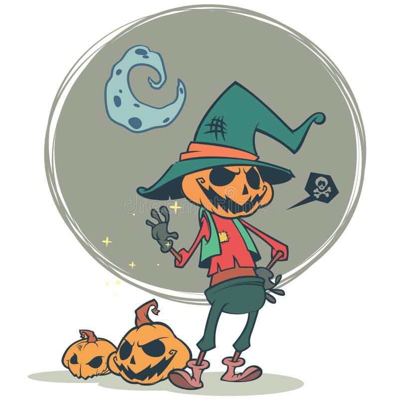 Spaventapasseri spaventoso della testa della zucca di Halloween, cartolina di vettore per la festa di Halloween illustrazione vettoriale